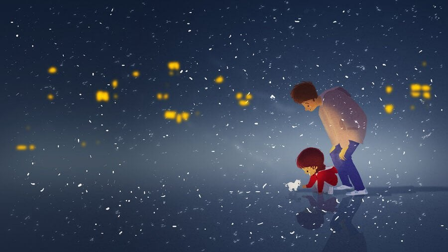 Parent and Child under Stars