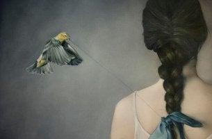 Bird Pulling Woman's Bow