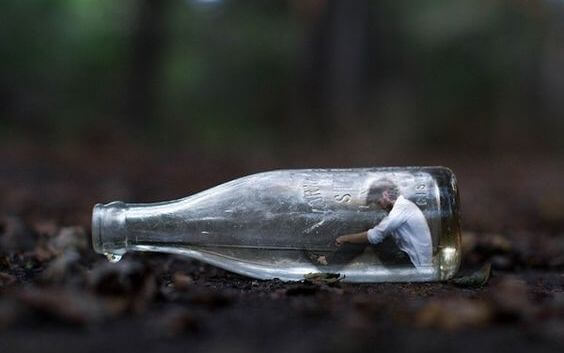 person in a bottle
