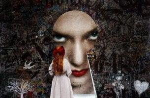 Face Looking at Woman Through Lock