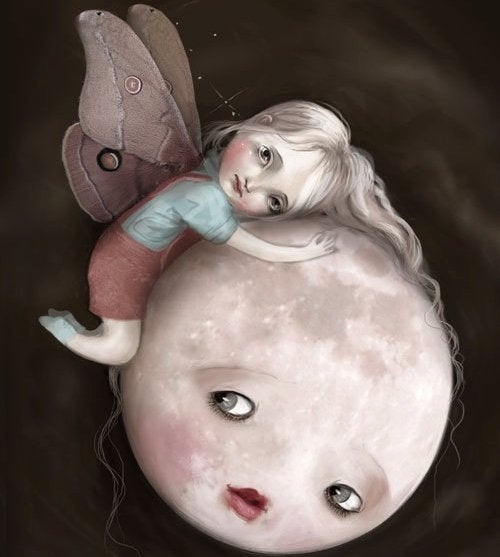 sad child with wings hugging moon