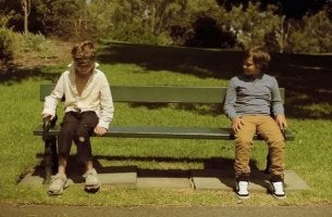 two boys on a bench