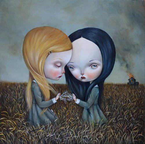 two sad girls