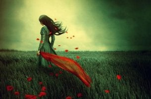 woman a field of red flower