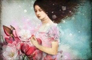 woman picking roses