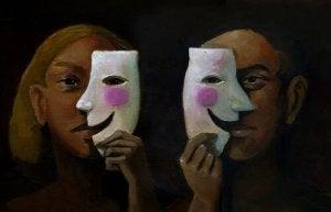 Man and Woman witih Smiling Masks