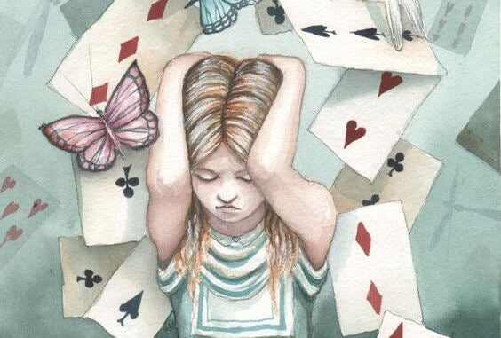 alice surrounded by playing cards