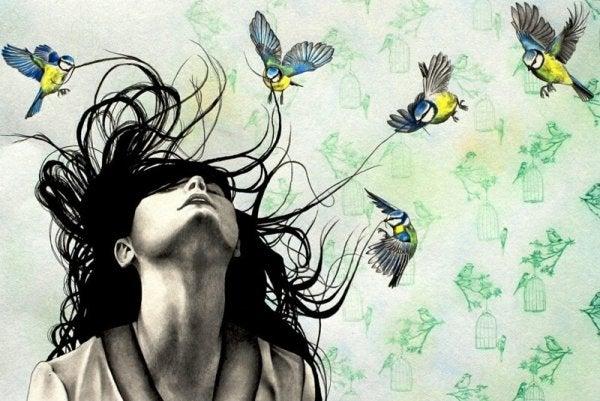 birds pulling hair