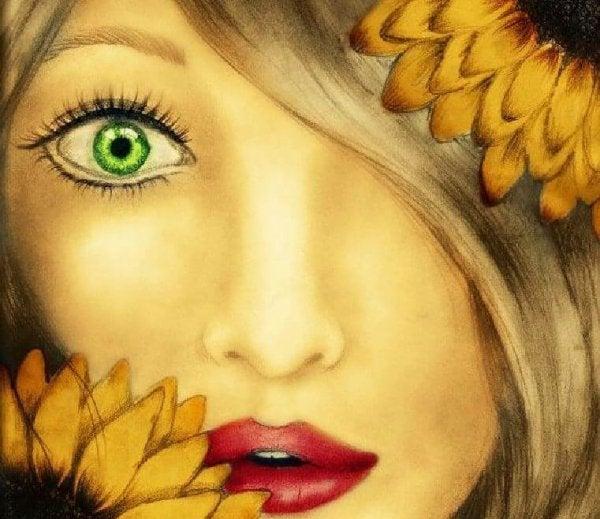 kvinne med grønne øyne