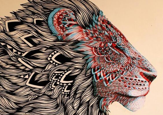 colorful-lion-face