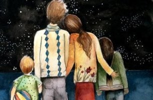 family-looking-at-the-starry-sky