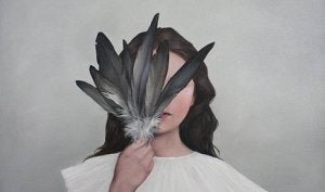feathers covering face