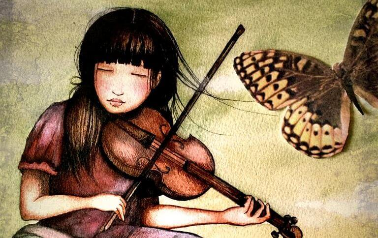 girl playing the violin with a butterfly