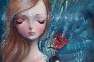 sad girl rose