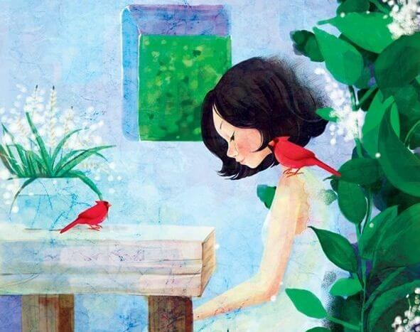 girl-with-two-red-birds