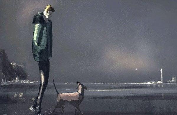 mann og hund pa stranden