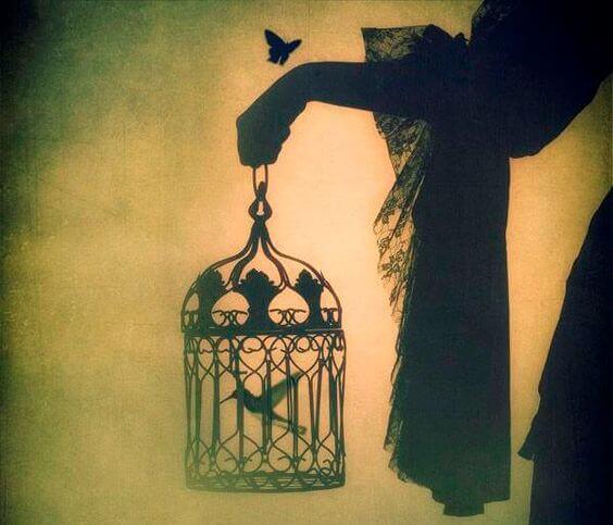 Fugl i bur