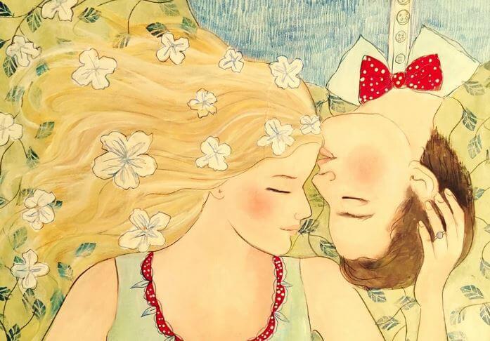 Couple Lying Man Kissing Woman's Forehead