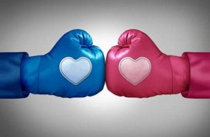 pink and blue boxing gloves