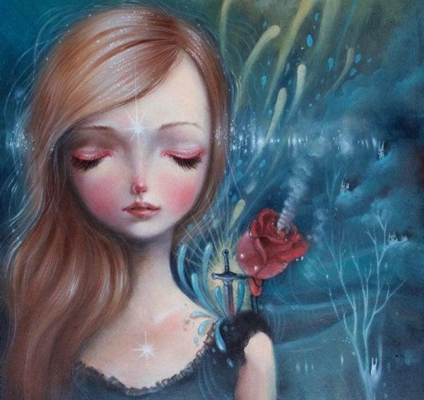rose i jentes skulder