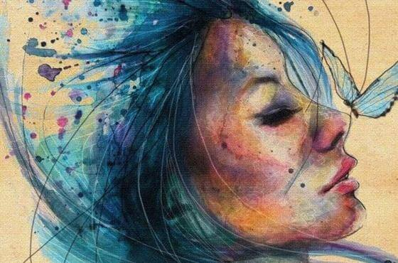 watercolor-girl-with-blue-hair