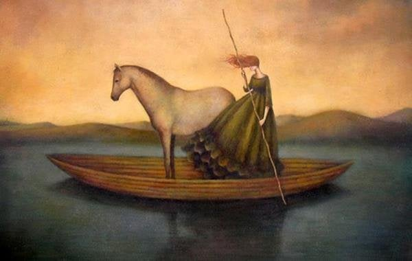 woman and horse on boat