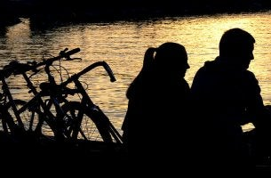 Couple With Bikes by River