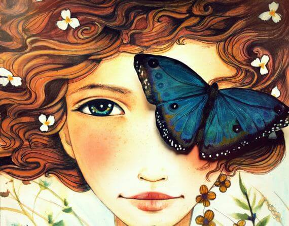 woman butterfly happy