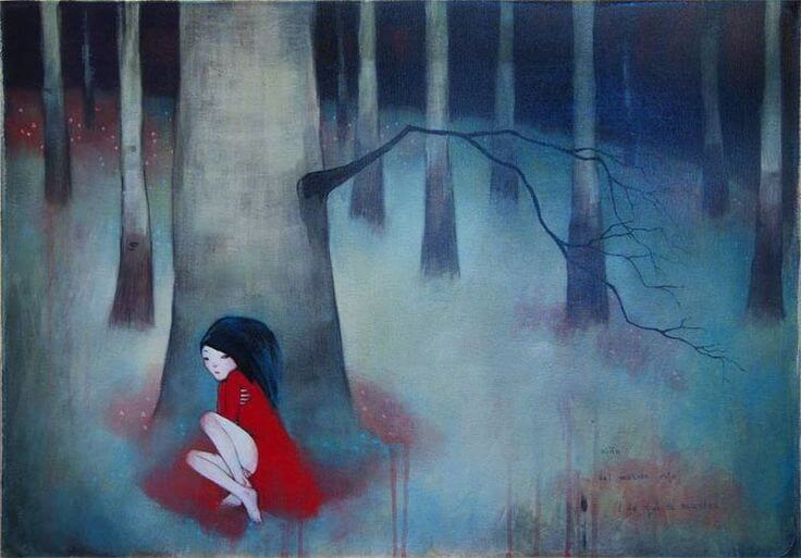 lonely woman forest