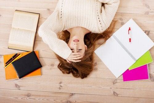 Stressed Woman Lying on Floor