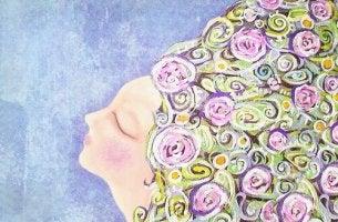 woman closed eyes flowers