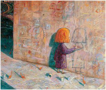 Liten jente tegner på en vegg