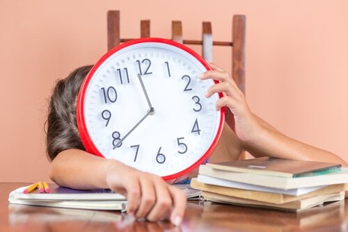 Child Hiding Behind Clock