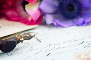 Pen on Letter with Flowers