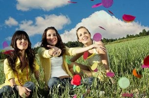 Girls with Confetti in Field