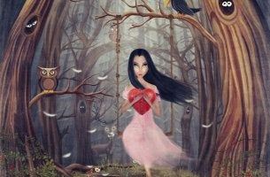 Woman Holding Heart in Woods