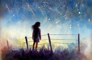 girl looking at the stars