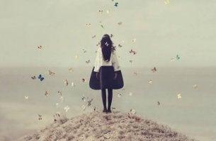 Woman on Hill of Butterflies