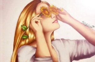 Woman with Sunflower Glasses
