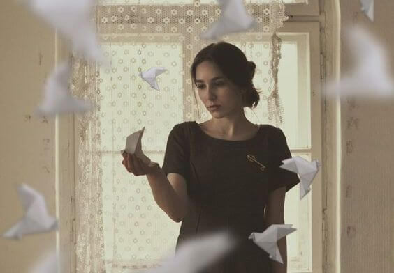 Woman with Paper Doves