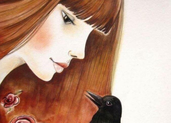 redheaded-woman-and-crow
