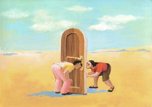 People Looking Through Key Hole