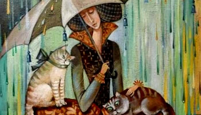 woman-in-the-rain-with-umbrella-and-two-cats