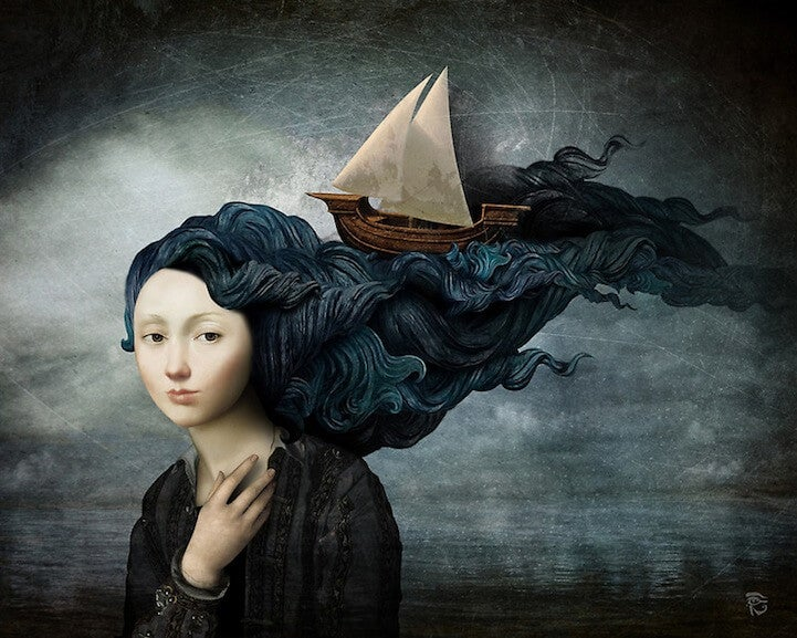 Ship Sailing on Woman's Hair