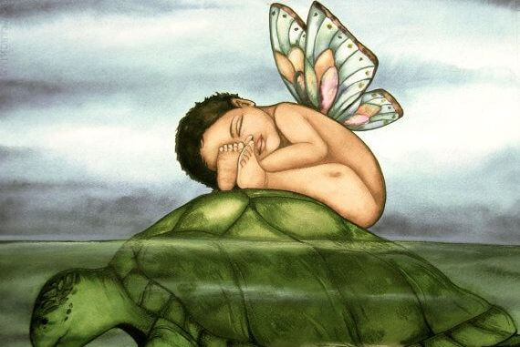 baby with wings on a turtle
