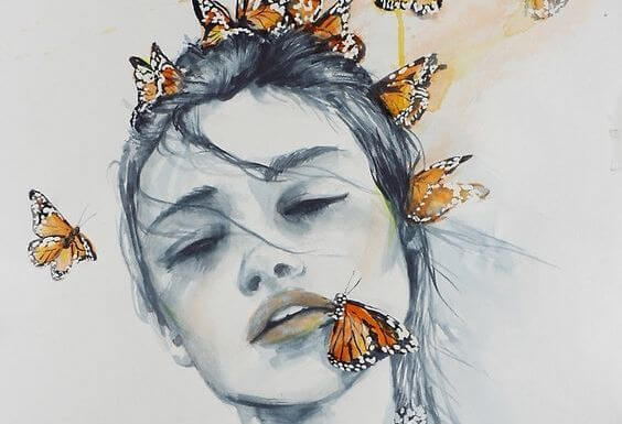 butterflies on woman's face
