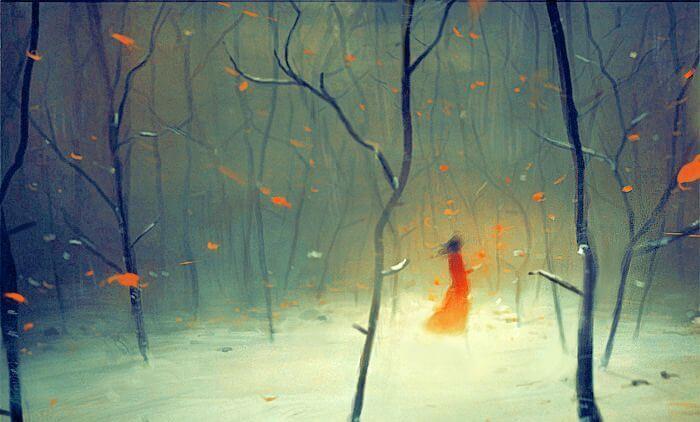 Jente i skogen