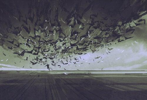 Hvorfor liker noen mennesker skumle filmer? - Mann rømmer fra fugler