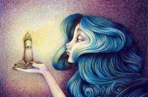 Woman Holding Lighthouse