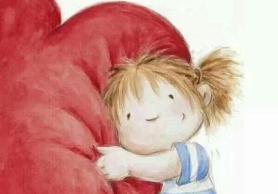 Girl Hugging Heart